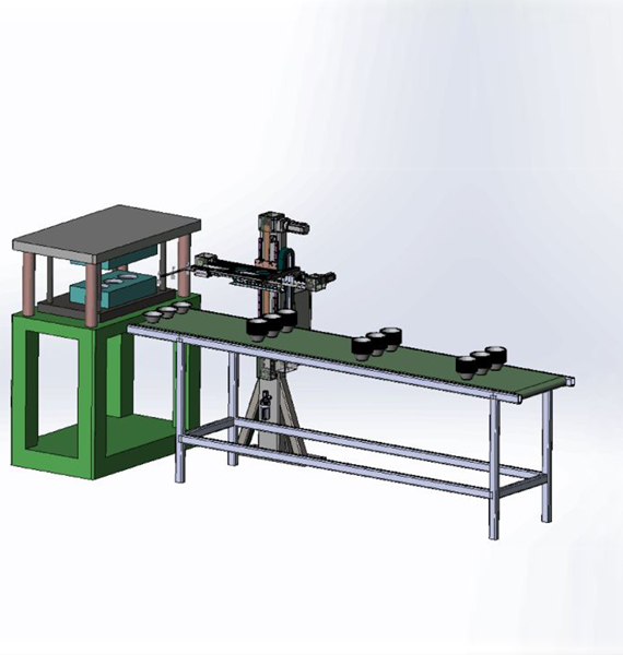 Plan drawing of special manipulator for cup making machine